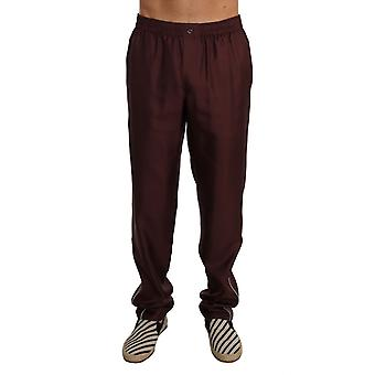 Dolce & Gabbana Bordeaux Dotted Silk Pajama Pants PAN60860-1