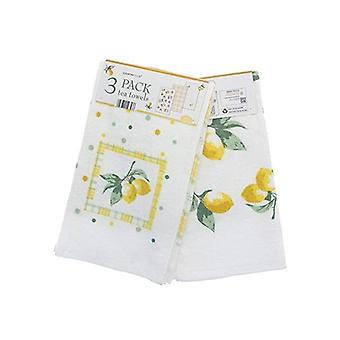 Country Club 3 Pack Velour Tea Towels, Lemons