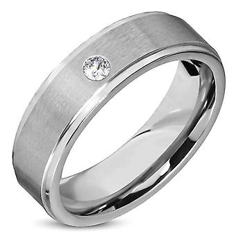 Satin finished classic men's 316 stainless steel band ring with inset cz