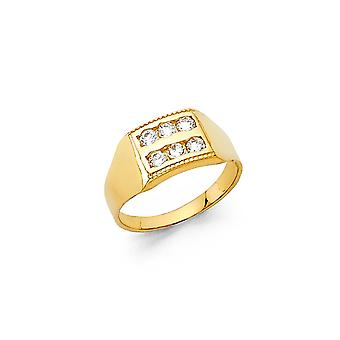 14k Yellow Gold Boys and Girls CZ Cubic Zirconia Simulated Diamond Ring Size 3 - 1.0 Grams