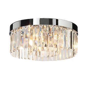Crystal, Chrome And Crystal Ceiling Light, 5 Bulbs