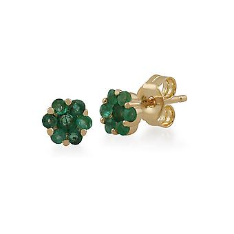 Floral Round Emerald Cluster Stud Earrings in 9ct Yellow Gold 145E0114129