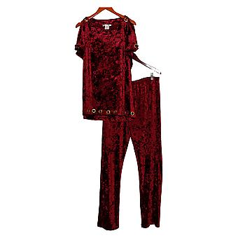 K Jordan Set w/ Top & Elastic Waistband Pants Burgundy Red