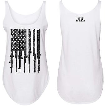 Grunt Style Women's Rifle Flag Flowy Tank Top - White