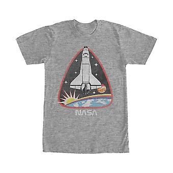 Hombres de la NASA NASA sobre la tierra la misión parche T camiseta Heather Grey