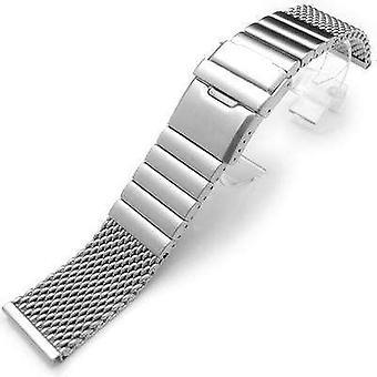 Bracciale orologio Strapcode 316l banda maglia filo 24mm subacquei in acciaio inox doppio, solido 316l collegamento