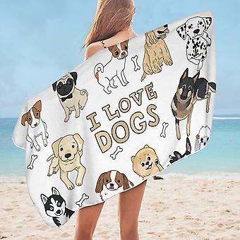I Love Dogs Microfiber Beach Towel