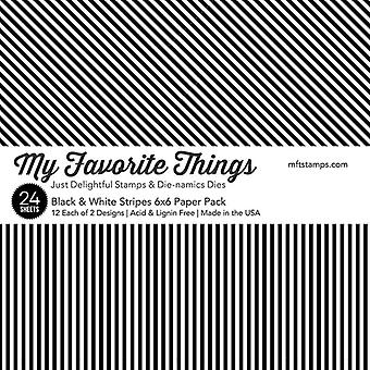 My Favorite Things Black & White Stripes 6x6 Inch Paper Pack