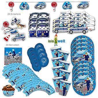 Polizei Party Set XL 93-teilig für 6 Gäste Polizeiparty Police Cops Party Deko Partypaket