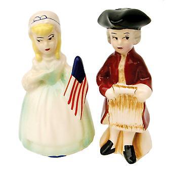 Vroege koloniale Amerikanen patriottische paar keramische Salt en Pepper Shaker Set