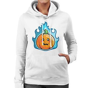 Blue Flaming Cute Pumpkin Kawaii Women's Hooded Sweatshirt