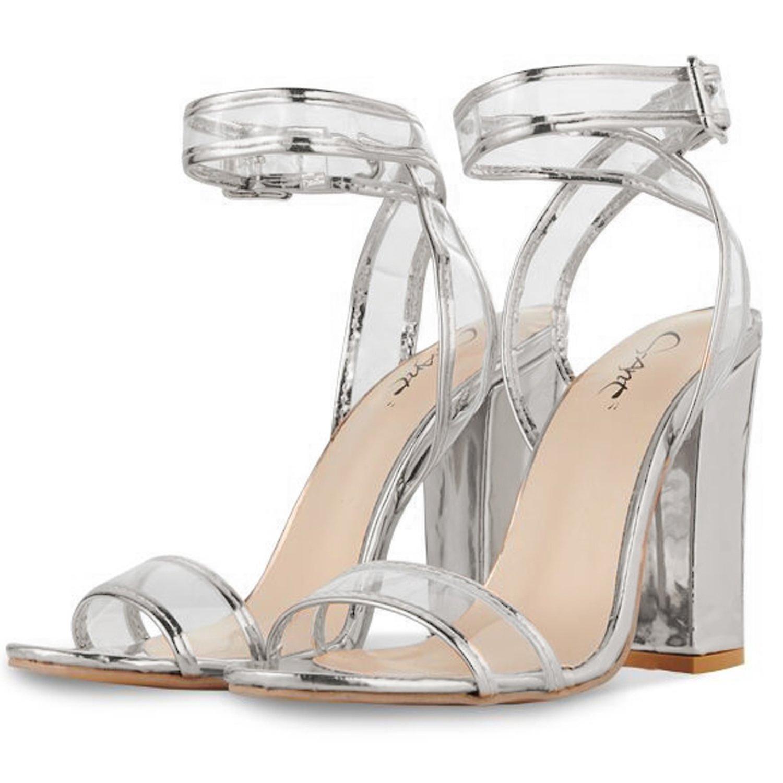 JSUN7 Women's Shoes ZXWXH0032Silver40 Open Toe Casual Ankle Strap Sandals