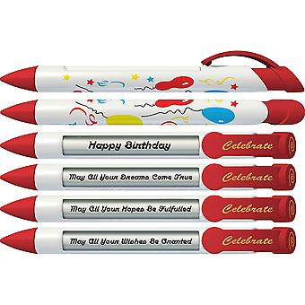 Greeting Pen Celebrate Birthday Pens With Rotating Messages, 6 Pen Set (36501)