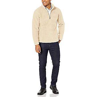 Essentials Men's Sherpa Fleece Quarter-Zip Pullover, Off White, X-Large