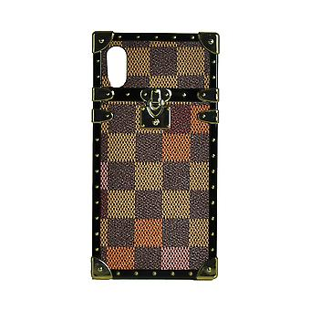 Phone Case Eye-Trunk Checkered Square For iPhone XS (Orange)