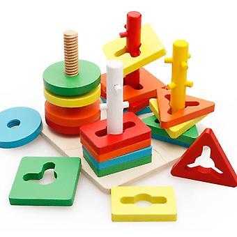 Baby Brain Development Montessori Match, Geometric Sorting Board Wooden Blocks