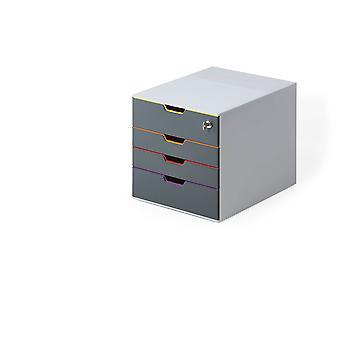 Durable 760627 Schubladenbox abschließbar (Varicolor 4 Safe) 4 Fächer, mit Etiketten zur Beschriftung, mehrfarbig
