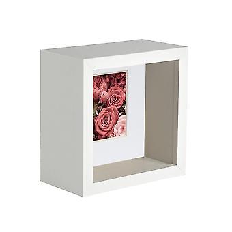 Nicola Frühling 2 Stück 4 x 4 3D Schatten Deep Box Fotorahmen Set - Handwerk Display Bilderrahmen - weiß
