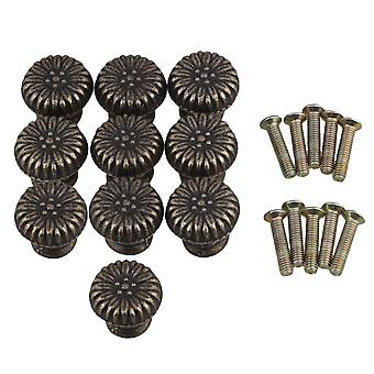 10Pieces Screw Type Zinc Alloy Vintage Drawer Pull Handle Bronze 20x18mm