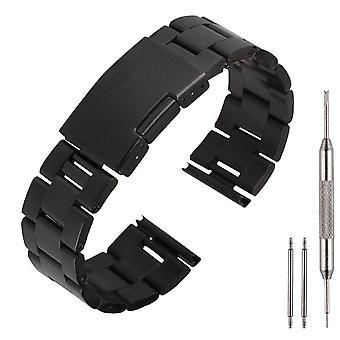 Hellfire Luxury 22mm Stainless Steel Metal Watch Band Solid Links + Tools[Black,LG G Watch]