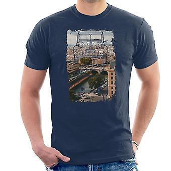 Citroen 2CV Retro Piirustus Pariisin yli Miesten t-paita