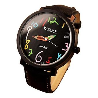 YAZOLE 347 Fashion Leather Strap femmes Quartz Watch Casual Colorful Number