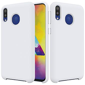 Solid Color Liquid Silicone Shockproof Full Coverage Case for Galaxy M20 (White)