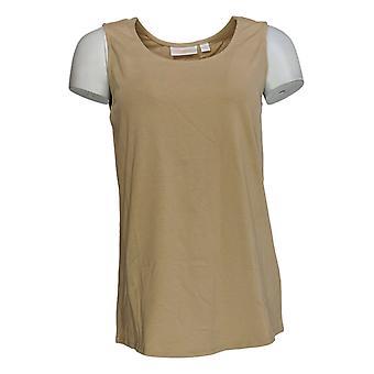 Belle by Kim Gravel Women's Top TripleLuxe Prima Cotton Tank Gold A374469