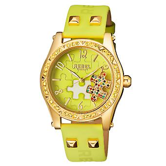 Rebel Women's Gravesend Lime Green Dial Leather Watch