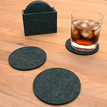 8x Felt Round Coaster - Drink Coasters For Cups Table Bar Glass Glasses - 8 Pieces Set With Box Dark Gray