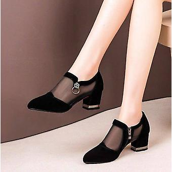 Mesh Breathable Pumps Zip Pointed Female Dress Shoes