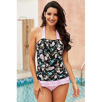 Floral Open Back Ruched Halter Top & Shorts Tankini Set