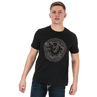 Men's True Religion Branded Logo Camiseta en Negro