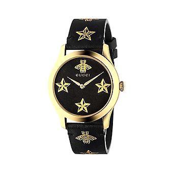 Gucci YA1264055 G-Timeless Black Dial Black Leather Ladies Watch