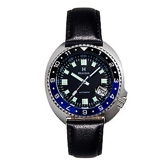 Heritor Automatic Pierce Genuine Leather-Band Watch w/Date - Black/Blue
