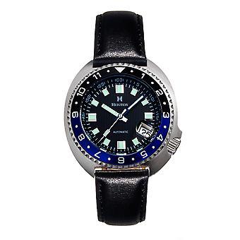 Heritor Automatic Pierce Genuine Leather-Band Watch w/Date - Black/Blue