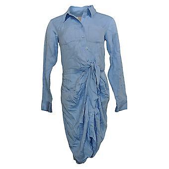 Laurie fieltro vestido atado frontal manga larga blusa azul A305685