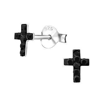 Children's Sterling Silver Black Cross Stud Earrings