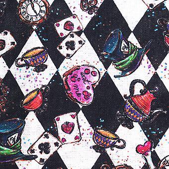 TRIXES Tecido de Algodão Crazy Tea Party Design de impressão para artesanato uma folha 1 x 1,5M