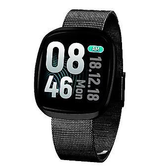 Smart Watch, Fitness Tracker Watch Touch Screen med blodtrykspuls søvnmåler i blodet Ring til SMS SNS Alert Music Control Vandtæt til Unisex kompatibel med Android IPhone-black2
