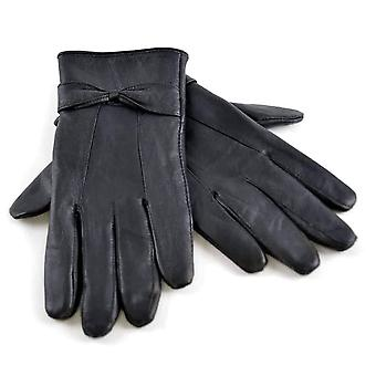 Ladies Sheepskin Leather Gloves With Bow