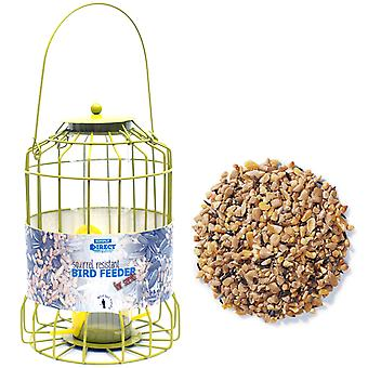 1 x Simply Direct Squirrel Guard Hanging Seed Feeder with 12.75KG Bag of Mixed Seed Feed for Wild Garden Birds