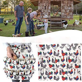 Half-length Short Apron Printed Elasticity Lightweight Generous Simple Durable Egg Collection Half Skirt Multiple Pocket Apron
