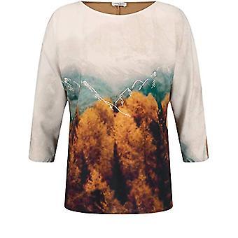 Gerry Weber T-Shirt 3/4 Arm, Ecru/White/Yellow Print, 42 Woman