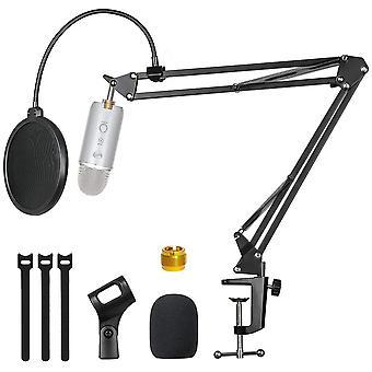 Microfoonstandaard met microfoon voorruit dual layered pop filter ophanging