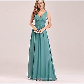 Bridesmaid Dress, A-line V-neck Chiffon Elegant Long Dress