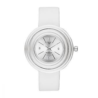 Dames Watch Romane Diamonds 0.012 karaat - Zilveren wijzerplaat Witte lederen armband