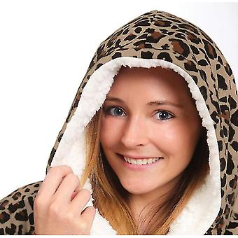 Oversized Lazy Print Warm Hoodie Fleece Pullover With Pocket For Adult(Leopard)