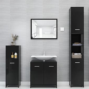 vidaXL 4 kpl. Kylpyhuoneen huonekalut setti kiiltävä musta lastulevy