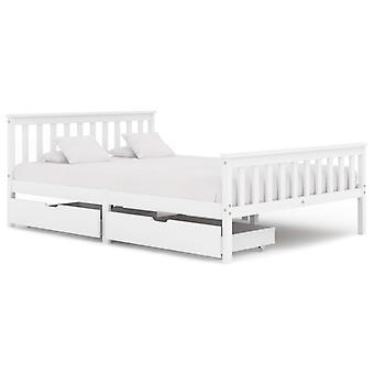 إطار سرير vidaXL مع 2 الأدراج الصنوبر الخشب الصلب الأبيض 140x200 سم